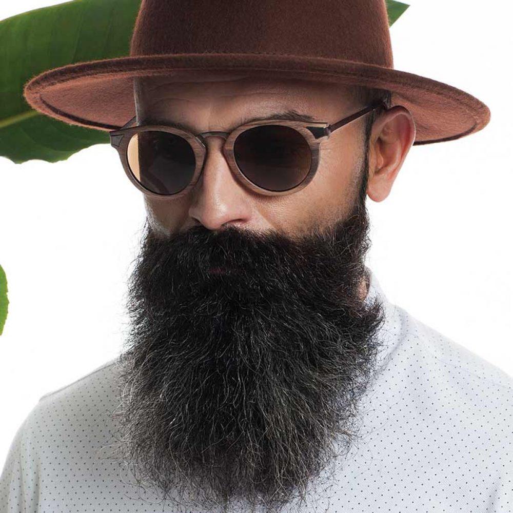 Sonnenbrille Mann Holz Hut Bart ignis