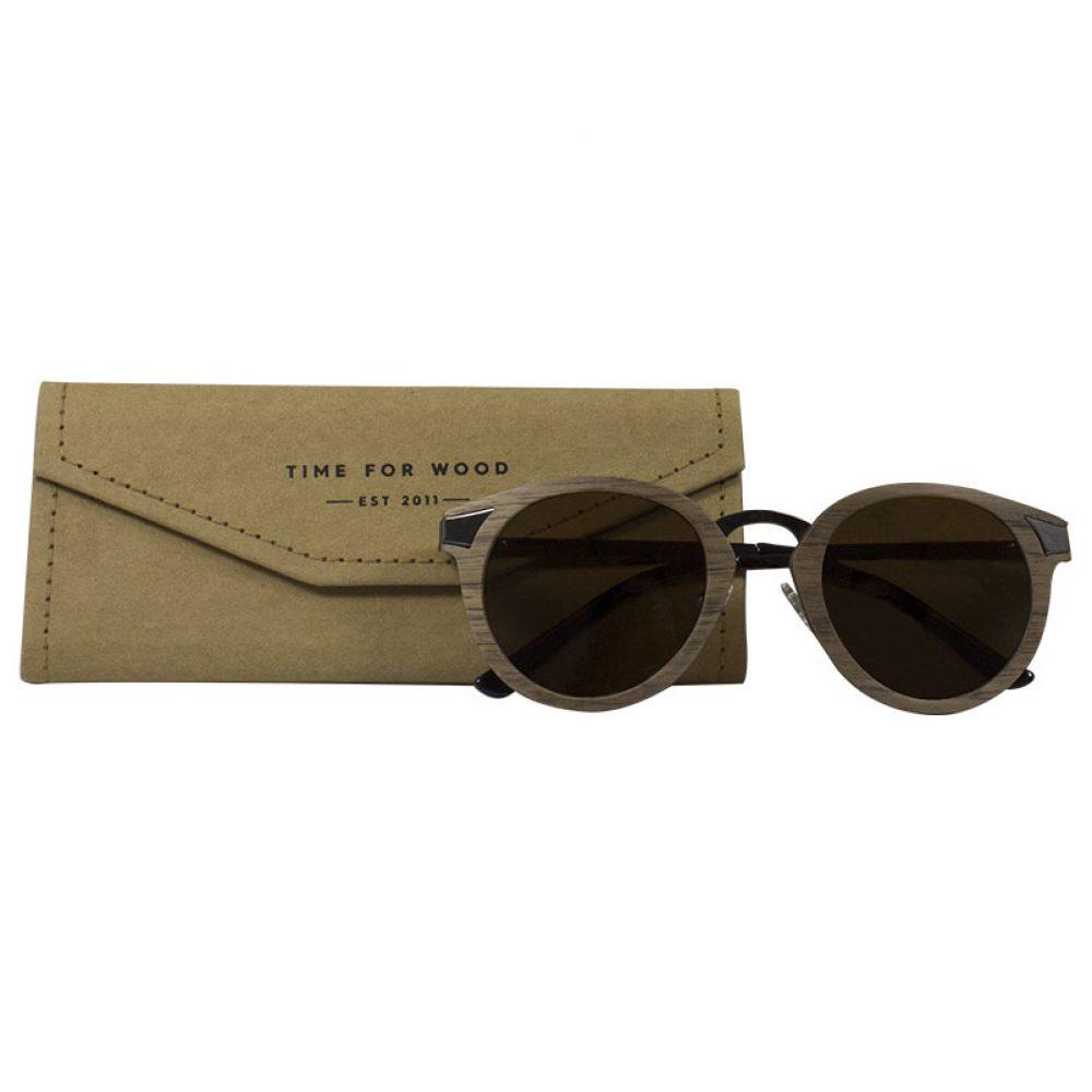 Sonnenbrille Holz handgemacht! faltbares Brillenetui gratis kostenlos ignis-brown
