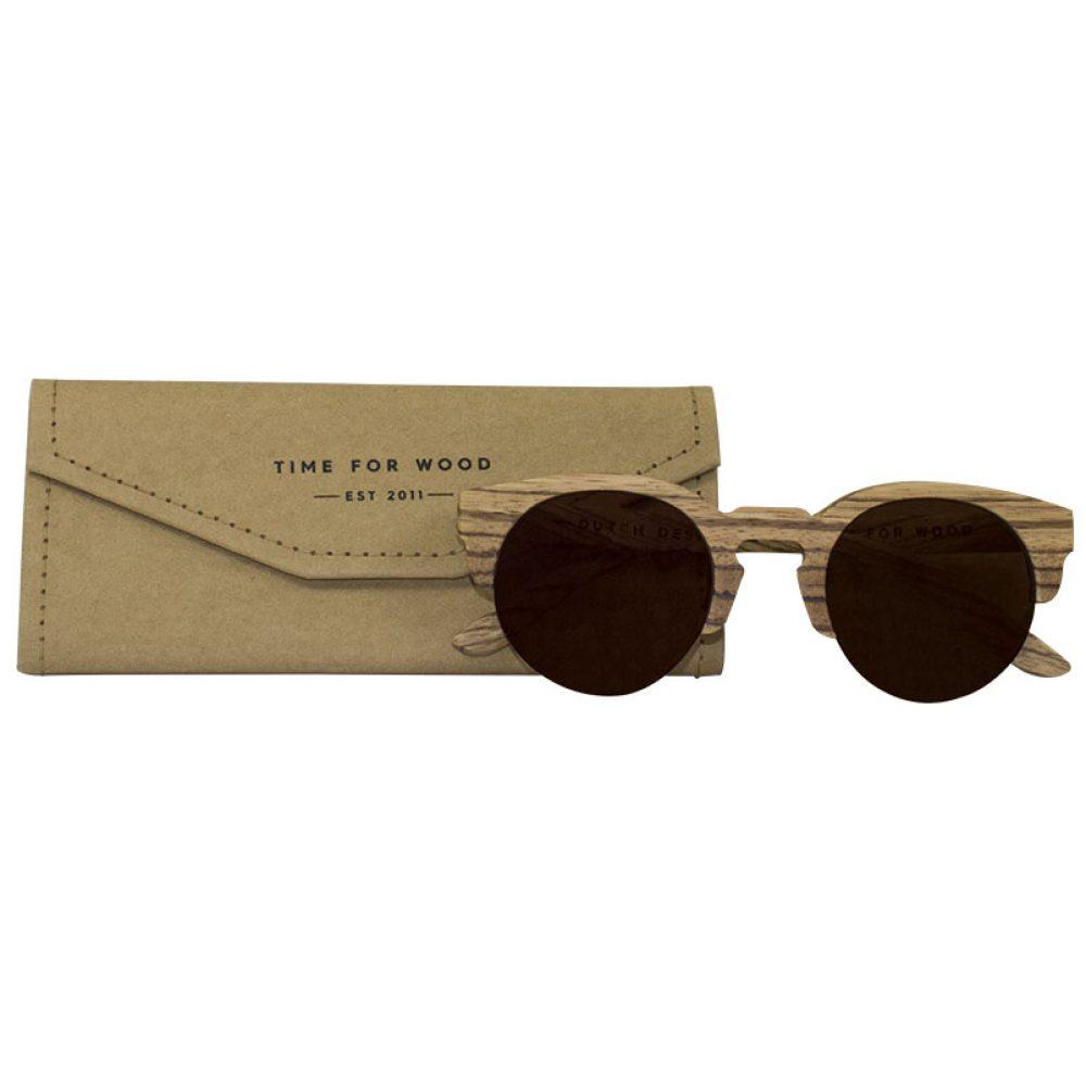 Sonnenbrille aus Holz -faltbares Brillenetui terra-brown-kostenlos gratis