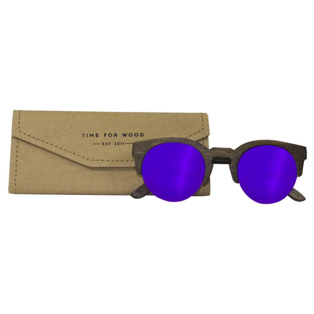 Sonnenbrille Holz terra-violett faltbares Brillenetui aus Kraftpapier gratis kostenlos
