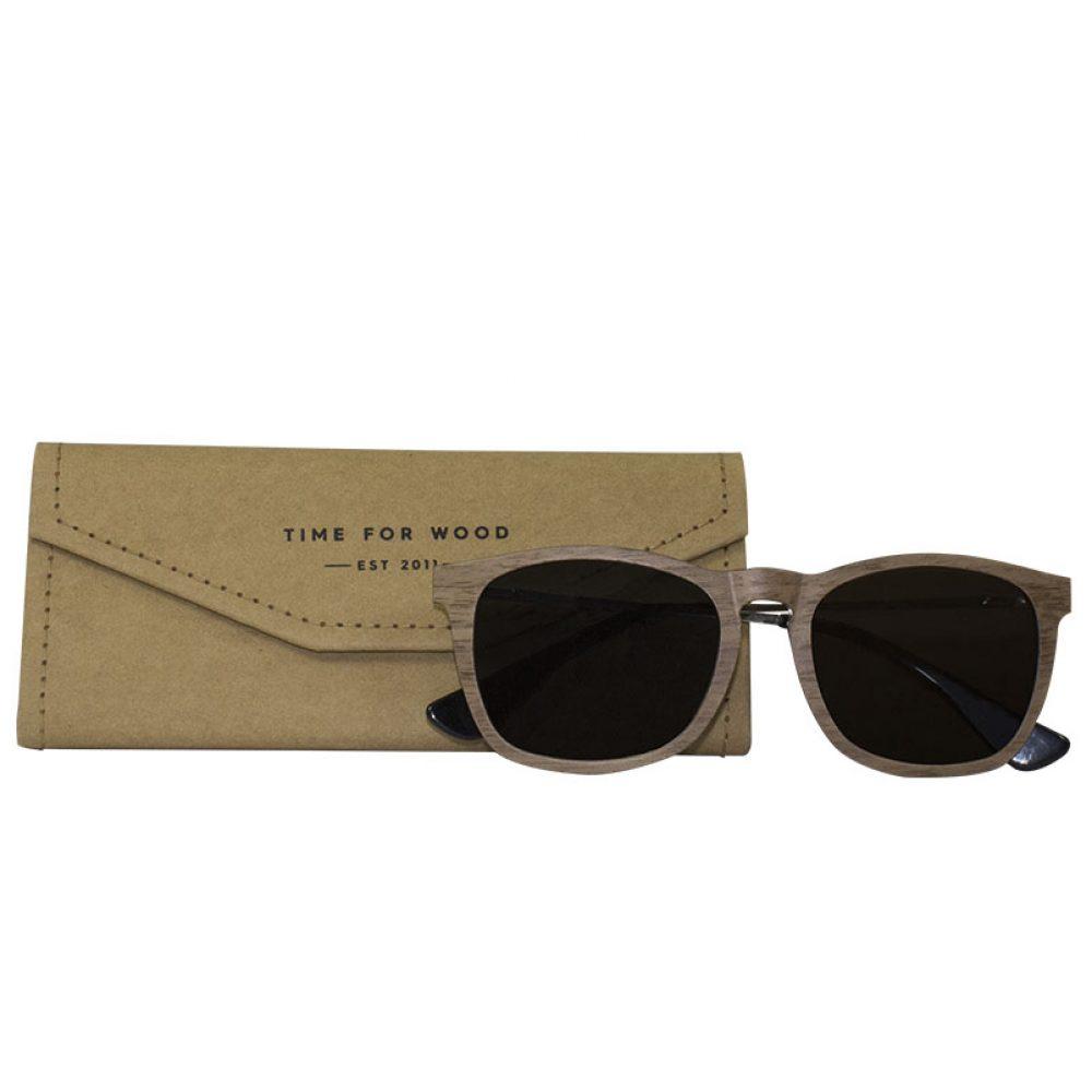 Sonnenbrille aus Holz faltbares Brillenetui gratis kostenlos